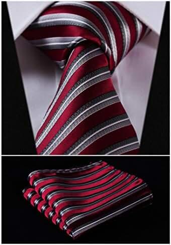 HISDERN Extra Long Polka Dots Tie Handkerchief Men's Necktie & Pocket Square Set