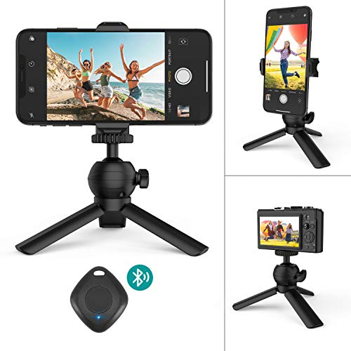 Selfie Phone Tripod,Klearlook Portable and Adjustable Camera Stand Holder with Wireless Remote Universal Spring Clamp Compatible with iPhone/Android Samsung,Camera,Sports Camera