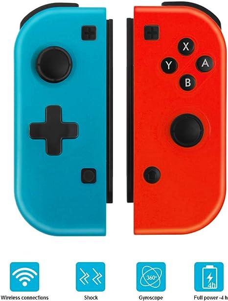 Mando Nintendo Switch Wireless Controller Gamepad Bluetooth Joystick Controlador Construido en Giroscopio y Motor de Vibración - Interruptor de Juego No Original , Azul y Rojo: Amazon.es: Videojuegos