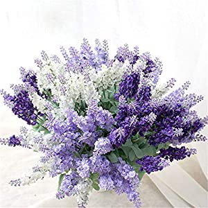 Wootkey 12 Pack Artificial Flower Mixed Color Lavender 4 Bundle Arrangement for Wedding Bouquet Silk Fake Faux Flowers with Greenery Leaves Stems Table Centerpiece Ideas DIY Home Decor Party 2