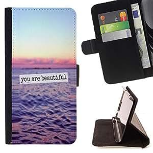 Ihec-Tech / Negro Flip PU Cuero Cover Case para Samsung Galaxy S6 EDGE - Beautiful Ocean Sunset Sky texte