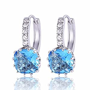 GULICX Girl's Aquamarine Color Blue Hoop Earrings Silver Tone Zircon Jewelry White Gold Electroplated