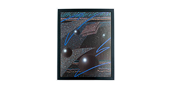 16x20 22x28 Vintage Funky 80s Abstract Poster Dark Space Spheres 2 Sizes