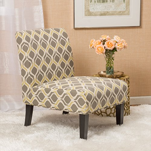Christopher Knight Home 297288 Kalee Dining Chair, Yellow and Grey Print
