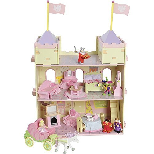 Constructive Playthings CPX-1038 Make Believe Fairytale Wooden Castle Complete Play set, Grade: kindergarten to (Wooden Fairy Castle)