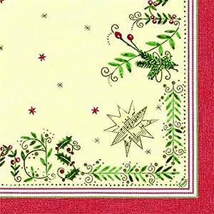 Duni servilletas clásica (40x 40cm, 4capas Christmas Gift Cream, 50unidades)
