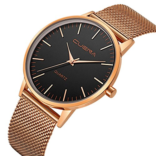 CUENA Men's Wrist Watch, Business Casual Analog Quartz Watch with Slim Mesh Band Black Dial by (Gold and black)