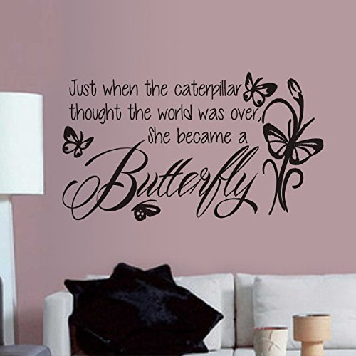 MairGwall Girl Nursery Quote - Just when the caterpillar thought the world was over,she became a butterfly - Wall Decal Sticker (Black, Small)