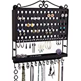 Angelynn's Hanging Jewelry Organizer Earring Holder Wall Mount Closet Necklace Storage Bracelet Rack Tray, Black