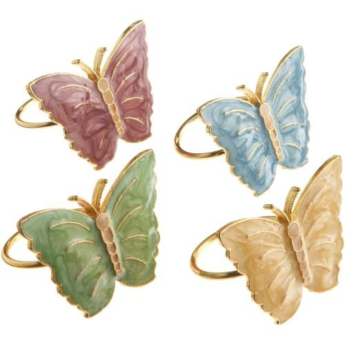 Lenox Butterfly Meadow Napkin Rings, Set of 4, Multi (For Rings Napkins)