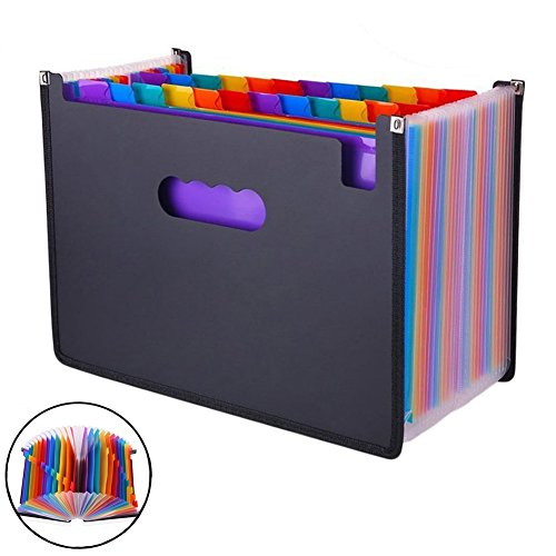 Heavy Duty Accordion Wallet - HOUSWOUKER Expanding Files Folder Accordion Expanding Wallet 24 Pockets High Capacity File Organizer Letter A4 Expandable File Organizer Sticky Notes