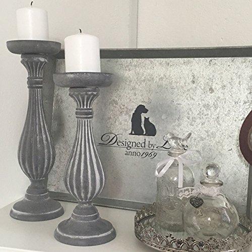 Kerzenständer RELIEF grau Holz Kerzenleuchter Shabby Vintage Nostalgie Landhaus (28 cm) (34 cm)