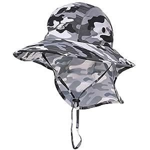 Siggi Mens Foldable Summer Neck Flap Bill Cap Sun Hat UPF 50+ Sunhat with Chin Strap Wide Brim Camo Gray Medium