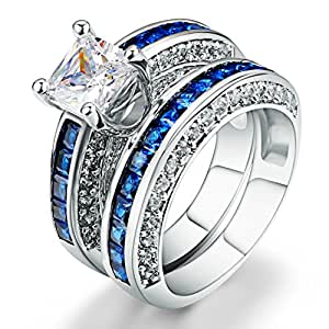 Amazon.com: AMiERY Women 18KGP Princess Cut CZ Blue