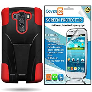 CoverON® LG G3 Kickstand Hard + Soft Dual Layer Hybrid Case Cover Bundle with Clear Anti-Glare LCD Screen Protector - Hard Black Plastic + Soft Red Silicone