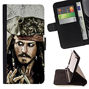For Apple Iphone 5 / 5S Jack Sparrow Leather Foilo Wallet Cover Case with Magnetic Closure