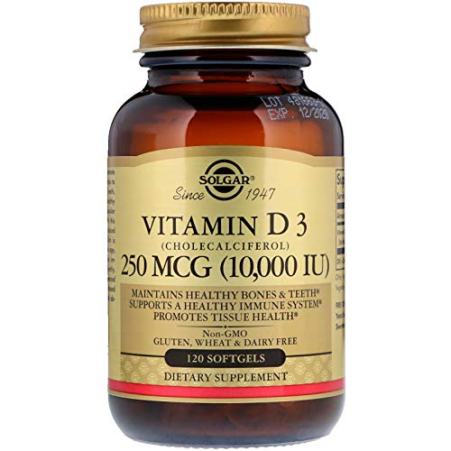 Solgar - Vitamin D3 (Cholecalciferol) 10,000 IU Softgels, 120 Count (2 Pack) - Supports Bone, Muscle and Immune System ()