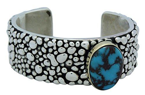 Marc Antia, Bracelet, Sterling, 14k Gold, Bisbee Turquoise, Apache Made, 6.5 (Bisbee Turquoise Bracelet)