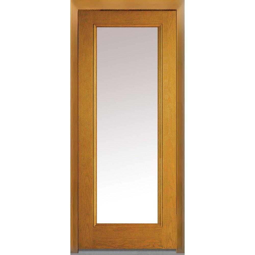 National Door Company Z008237R Fiberglass Prehung In-Swing Entry Door, Right Hand, Full Lite, Clear Glass, Oak in Fruitwood, 32'' x 80''