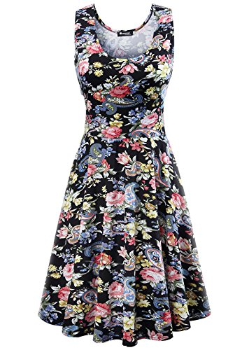 Evening Party Cocktail (Measoul Womens Casual Fit and Flare Floral Sleeveless Party Evening Cocktail Dress,Black,Large)