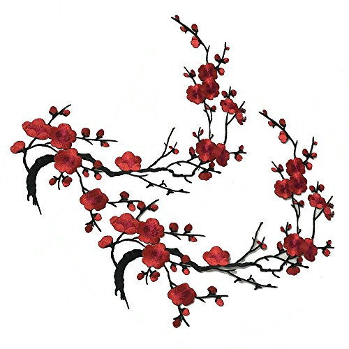 Sakura Red Embroidered Appliques Plum Quince Flowers Iron On Patches Pack Of 2 piece (Red)