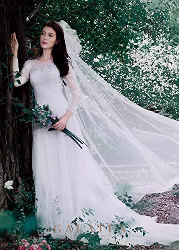 abito 1 sposa Bianco matrimonio sposa trailing spalla Sen semplice da principessa lunga parola luce sogno WFL manica wqEAa4ca