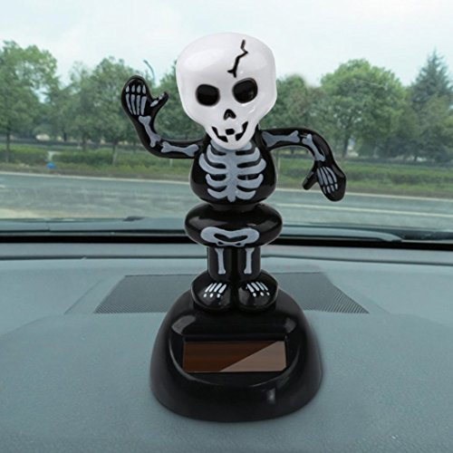 MALLOOM Solar Powered Skull Pumkin Dacing Toy Halloween Home Car Decor (A)]()