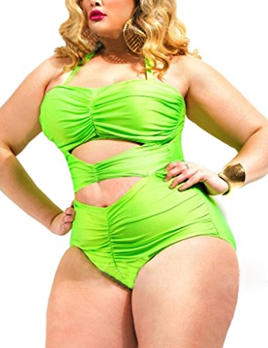 Surenow's Summer Plus size high waisted bikini sets designs with excellent features Green XXX-Large