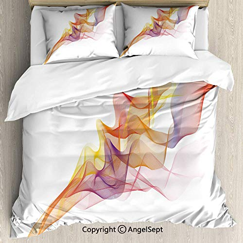 (Sheet Set 3 Piece with 2 Pillow Shams,Digital Design Vapor Waves as Abstract Multicolored Smoke Figure with Series of Lines Multicolor,Wrinkle Free,King Size)