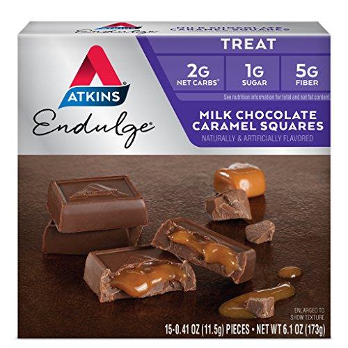 Atkins Endulge Treat, Milk Chocolate Caramel Squares, 15 Count (Pack of 6) ()