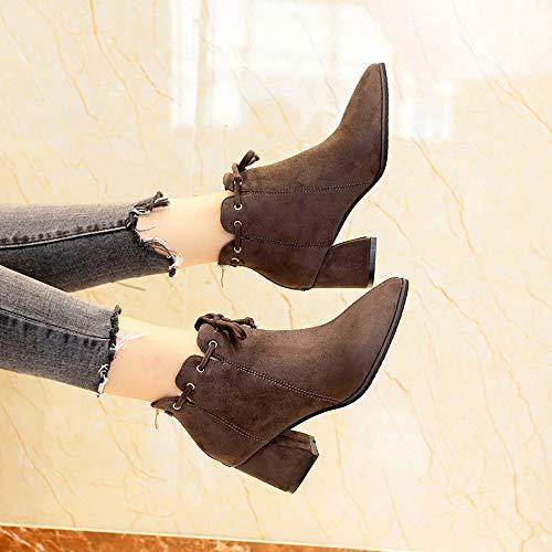 Stivali Low Stivaletti Stivali tacco Invernali Boots Heels con Donna Snow Inverno UOMOGO Stivali Martin Nuovo Cavaliere Pelliccia Neve Top Autunno Cachi Stivali ZAR4ZrpcqB