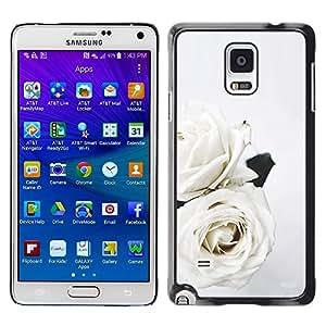 Caucho caso de Shell duro de la cubierta de accesorios de protección BY RAYDREAMMM - Samsung Galaxy Note 4 SM-N910 - Roses Art Wedding Theme Flowers