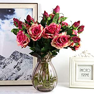 Adarl 1pc Artificial Rose Flower Fake Silk PU Feel Moisturizing Rose Flower Bouquet for Home Office Decor Party Festival Wedding Decoration Champagne 4