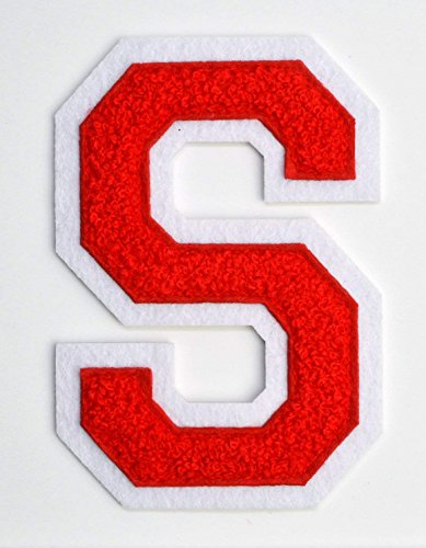 Varsity Letter Patches - Red Embroidered Chenille Letterman Patch - 4 1/2 inch Iron-On Letter Initials (Red, Letter S Patch)