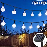 Solar String Lights Garden, 33ft 60 LED Outdoor String Solar Powered Fairy Lights Waterproof 8 Modes Crystal Ball Decorative Lights for Garden Patio Yard Home Wedding Party (Cool White)