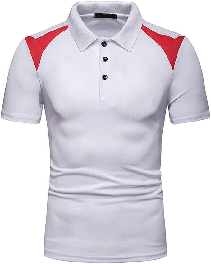 Camisa para Hombre Polo Informal de Manga Corta de Verano: Amazon ...