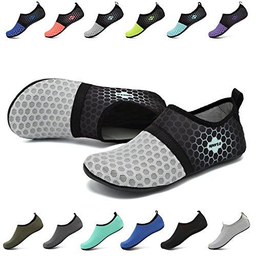 EASTSURE Snorkeling Shoes Water Sport Shoes Aqua Socks for Men Women Beach Swim Surf Yoga Grey 38-39