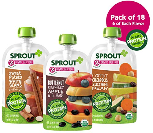 Sprout Organic Baby Food Stage 2 Plant Protein Variety Pack, Carrot Chickpea Zucchini Pear and Butternut Blueberry Apple, 18Count