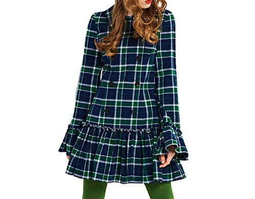 Vintage 60s Dresses Women Autumn Plaid a line Flare Sleeve Turn-Down Collar Double-Breasted,Hunter,L
