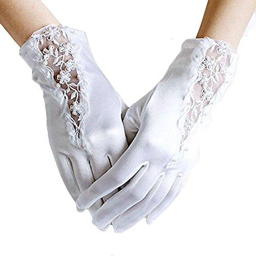 Linabridal Women's Vintage Lace And Satin Wrist Length Bridal Wedding Gloves YT027WT-White (Gloves Length Bridal Wrist)