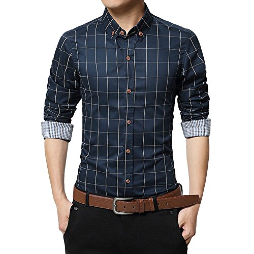 Shirt Blouse Top Slim-Fit Short-Sleeve Casual Shirt Slim Long Sleeve Shirt Plaid Casual Social Men's -