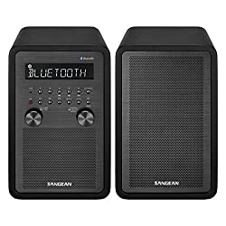 Sangean All in One Surround Sound Bluetooth AM/FM Dual Alarm Clock Radio with Large Easy to Read Backlit LCD Display