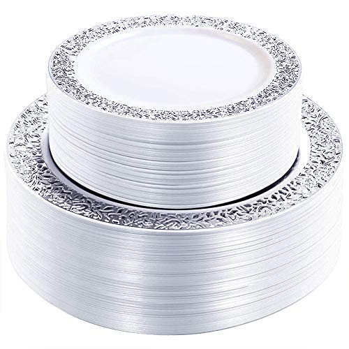 WDF 102PCS Silver Plastic Plates-Disposable Plastic Plates with Silver Rim- Lace Design Plastic Wedding Party Plates including 51Plastic Dinner Plates 10.25inch,51 Salad Plates 7.5inch]()