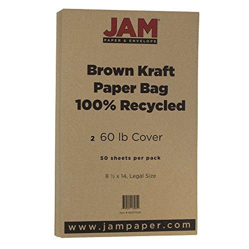 JAM Paper Matte Legal Cardstock - 8.5'' x 14'' - 60lb Brown Kraft Paper Bag - 50 Sheets/Pack by JAM Paper