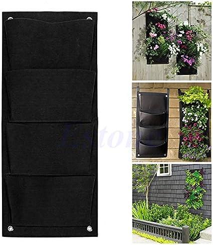 Dabixx 4 Pocket Colgante de Pared Vertical Balcón Herb Garden Flowers Bolsas de Interior al Aire Libre