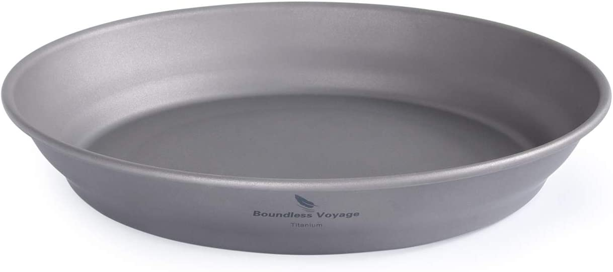 Boundless Voyage Ultralight Titanium Bowl Pan Plate Dish with Carry Bag Outdoor Camping Portable Tableware Cookware (Ti15166B (Plate-S))