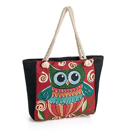 Red Ladies tone beach bag print bag rope owl bag day AZw5xZCdqn