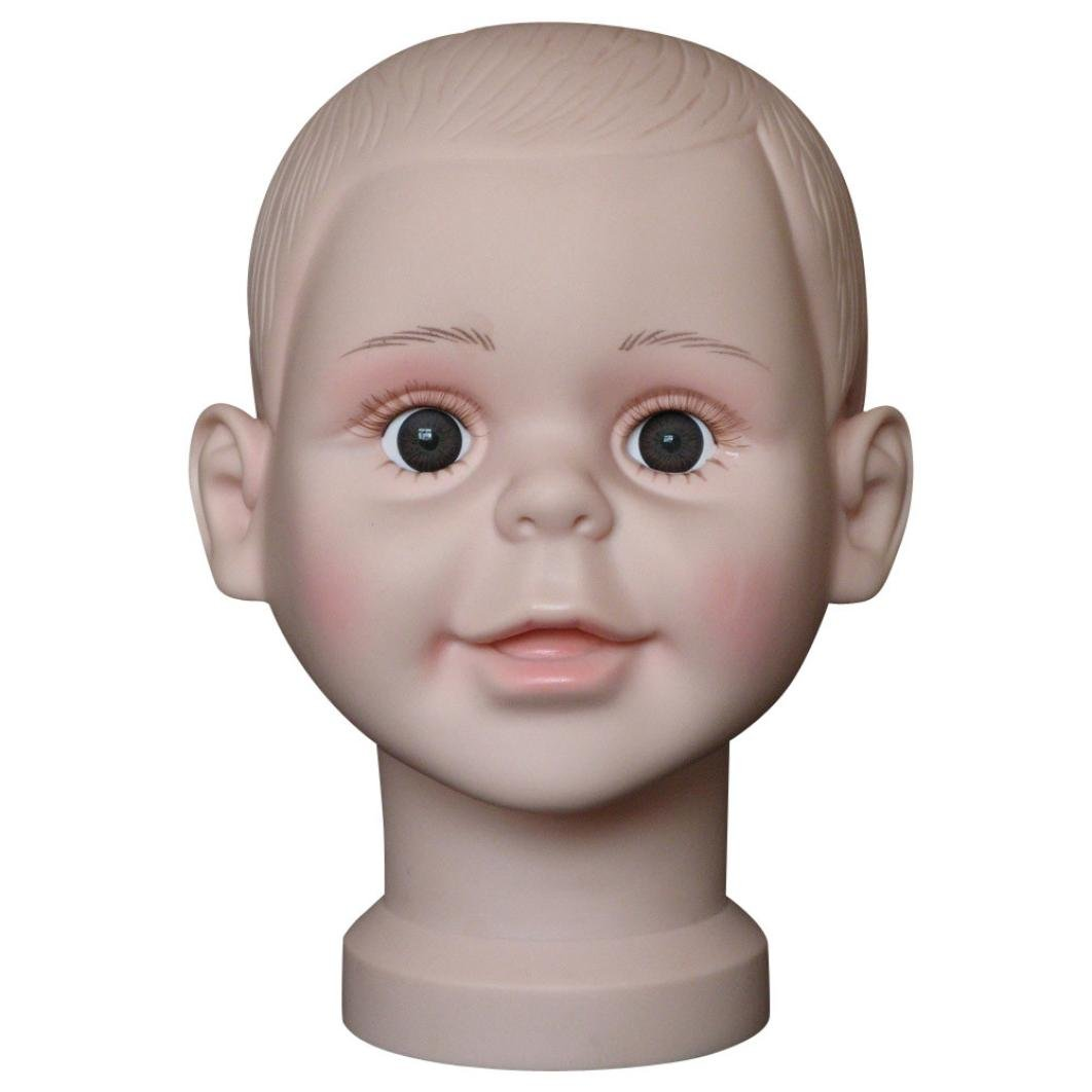 Model Head, Inkach Child Mannequin Manikin Head Model for Wig Hat Model Show Stand Display (A)