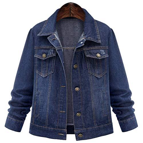 Invernali Cose Sciolto Dunkelblau Jeans Jacket Giacche Durevole Donna Autunno Moda Manica Fresco Lunga Cappotto Hippie Vintage Giacca Fidanzato Outerwear Coat fPtAq