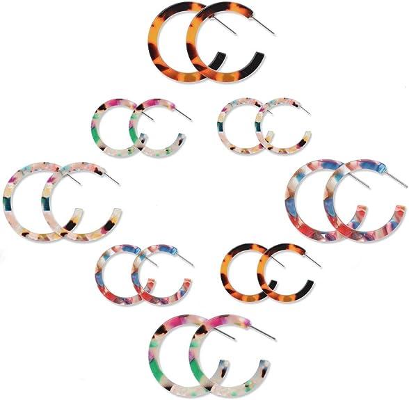 pair Stainless Steel Flower Paint Orange Acrylic Bead Ball 3 Color Stud Earrings
